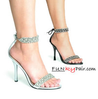 457-Claudia, 4.5 Inch Stiletto High Heel w/Rhinestones Sandal Made By ELLIE Shoes