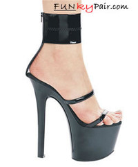 711-Sibyl, 7 Inch High Heel with 2.75 Inch Platform Ankle Cuff Sandal Made By ELLIE Shoes