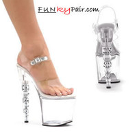 757-Brook, 7 Inch Dice High Heel with 2.75 Inch Platform Sandal Made By ELLIE Shoes