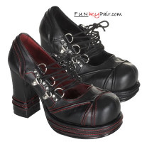 Chunky Heel with D-ring Lace-up Demonia Shoes Made by Demonia