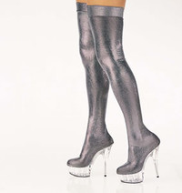 DELIGHT-3005B, 6 Inch High Heel with 1.75 Inch Platform Shimmery Pewter Skin Tight Thigh high boots * Made by PLEASER Shoes