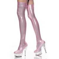 DELIGHT-3005BP, 6 Inch High Heel with 1.75 Inch Platform Shimmery Baby Pink Thigh high boots * Made by PLEASER Shoes