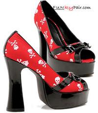 557-Skully, 5 Inch High Heel with 1 Inch Platform Halloween Skull Shoe