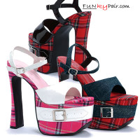 656-St.Mary, 6.5 Inch High Heel with 2.5 Inch Platform Plaid Sandal School Girl Shoes Made by ELLIE Shoes