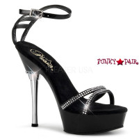 ALLURE-684, 5.5 Inch High Heel with 1.5 Inch Platform Ankle Strap Sandal with Rhinestones
