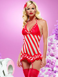 Striped mini dress with Garter Set * 31031
