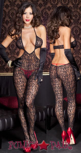 Lace Cut Out Bodystocking * ML-1412