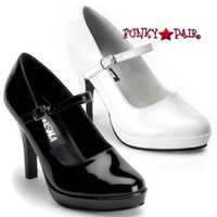 CONTESSA-50, 4 Inch Heel with 3/4 Inch Platform Mary Jane Shoe Made By FUNTASMA