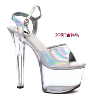 711-Flirt-H, 7 Inch High Heel with 2.75 Inch Platform Hologram Dancer Heel Made By ELLIE Shoes