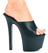 711-Vanity-L, 7 Inch High Heel with 2.75 Inch Platform Leather Shoes Made By ELLIE Shoes