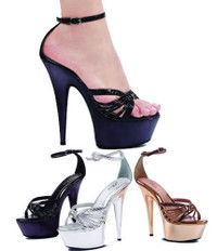 609-Rhonda, 6 Inch High Heel with 1.75 Inch Platform Stiletto Heel Strappy Sandal Made by ELLIE Shoes
