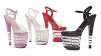 821-Stack, 8 Inch Stiletto High Heel with 3.75 Inch Lined Platform Sandal Made By ELLIE Shoes