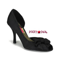 VIOLETTE-08, Black Satin Peep Toe Pump with Bow Made By Bordello