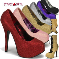 Teeze-31G, 5.75 Inch High Heel Detachable Shalf Glitter Pump