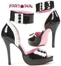 LA420-Frenchie, 4 Inch High Heel Ankle Strap French Maid Sandal Made By LEG AVENUE Costume Shoes