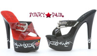 608-Barb, 6 Inch High Heel with 1.75 Inch Platform Heart and Thorns Slide Made by ELLIE Shoes