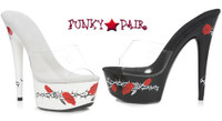 608-Passion, 6 Inch High Heel with 1.75 Inch Platform Slide with Rose and Thorns Made by ELLIE Shoes