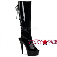 Delight-2017, 6 inch high heel with 1.75 inch platform Peep Toe and Open Back Knee High Boot