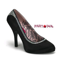 Tempt-37, 4.5 Inch High Heel Rhinestones Pump Made By Bordello