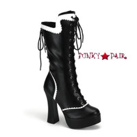 Courtess-1025, 5 Inch Block High Heel with 1 Inch Platform Lace Up Boot