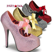 Teeze-04R, 5.75 Inch High Heel with 1.75 Inch Platform Rhinestone Shoes