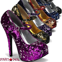 Teeze-07SQ, 5.75 Inch High Heel Sequin Maryjane Platform Pump