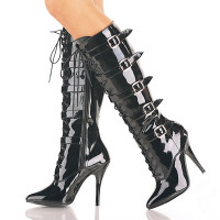 Seduce-2033, Shiny Lace-up Knee Boot with 5 Buckles * Made by PLEASER Shoes
