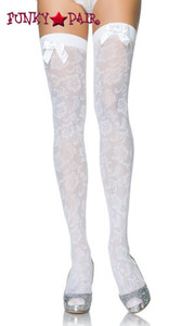 9100, Floral Thigh High with Satin Ribbon
