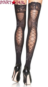 9552, Faux Corset Laced Back Opaque Thigh High