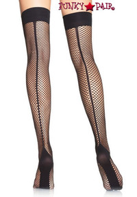 9074, Fishnet Cuban Heel Thigh Highs