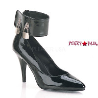 Vanity-434, 4 Inch High Heels Pump with Locking Ankle Cuff and Padlocks Made By PLEASER Shoes
