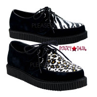 Animal Print Suede Fur Creeper Shoes