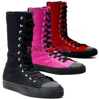 DEVIANT-201, Canvas Calf Sneaker Boot Made by Demonia
