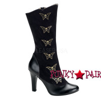 Tesla-107, 4 Inch High Heel Steampunk  boots with Skulls butterfly Women gothic boots Mady By Demonia