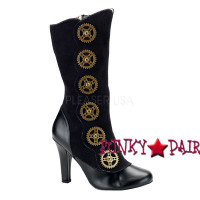 Tesla-108, 4 Inch High Heel Steam Punk Boots with Gear Button Women gothic boots Mady By Demonia