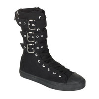 DEVIANT-202, Canvas 3 Buckle Calf Sneaker Boot Made by Demonia