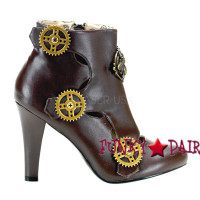 Brown Steampunk Ankle Bootie