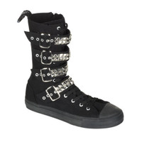 DEVIANT-203, Canvas 4 Buckle Calf Sneaker Boot Made by Demonia