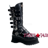 RAVAGE-302, Goth Punk Boots with Studds and Straps,Demonia Gothic