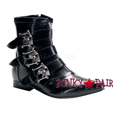 BROGUE-06 * Men Winklepicker Boots with Skull Buckles,Demonia Gothic