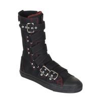 DEVIANT-207, Canvas Criss-Cross Strap Calf Sneaker Boot Made by Demonia