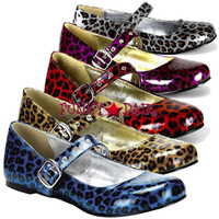 DAISY-04, Maryjane Cheetah Flat Made by Demonia