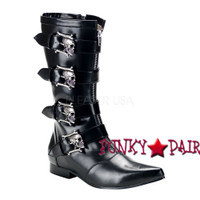 Men Knee High Boots with Skulls (BROGUE-107)