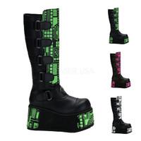 Techno-850UV, Cyber Goth Boots with UV Panels,Demonia Gothic