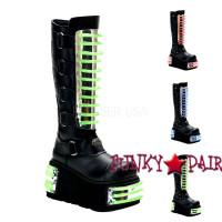 Techno-854uv, Cyber Goth Boots With UV Panels,Demonia Gothic