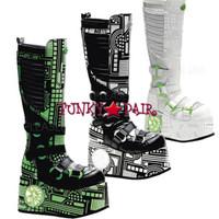 Techno-856UV, Cyber Boots with UV,Demonia Gothic