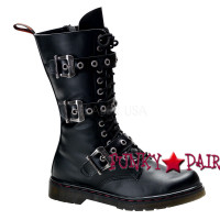 Disorder-303, 3 buckles calf Demonia Gothic  Boots