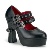 DEMON-16, Maryjane Platform with double skull straps Made by Demonia