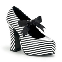 DEMON-20, black and white stripe sandal Made by Demonia