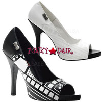 Zombie-06UV,  Peep Toe Pump with Cyber UV Print Made by Demonia
